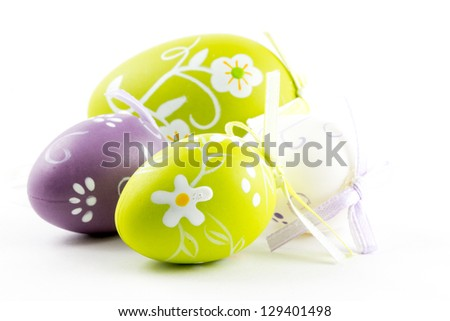 A group of colored easter eggs - stock photo