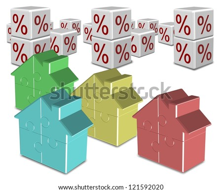 A group of colorful jigsaw puzzle houses and percentage symbols in the background / Mortgage and interest rates - stock photo
