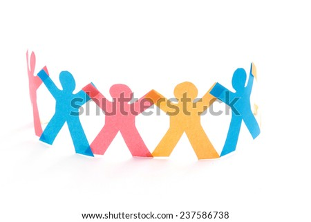 A group of colorful paper people, isolated on white - stock photo
