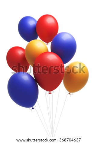 A group of coloruful  balloons. The balloons are attached to strings. Isolated on white background. Clipping path is included.