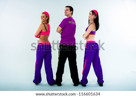 A group of dance instructors on isolated white background - stock photo