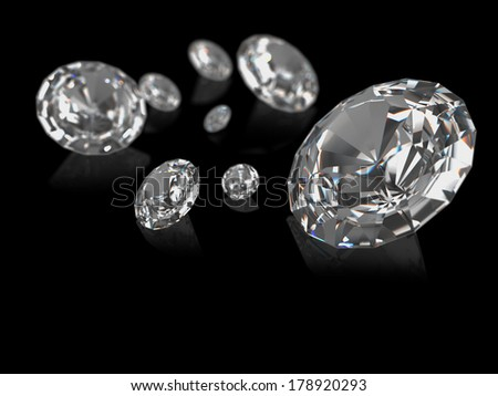 A group of diamonds on a black background.