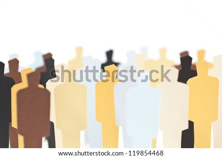 A group of diverse people on white background. Focus on the central yellow figure - stock photo