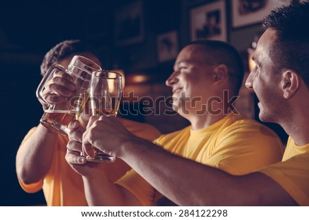 A Group Of Excited Sport Fans Toasting At The Bar - stock photo