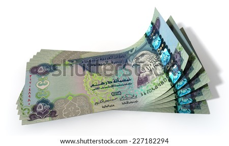 A group of five dirham banknotes fanned out and curved on an isolated white background