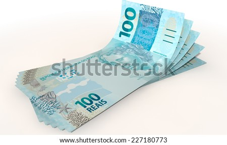 A group of five real banknotes fanned out and curved on an isolated white background