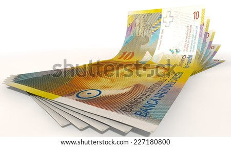 A group of five swiss franc banknotes fanned out and curved on an isolated white background - stock photo