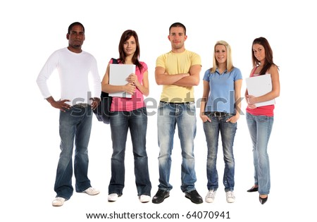 A group of five young people. All on white background. - stock photo