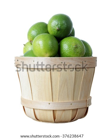 a group of fresh lime isolated on white background