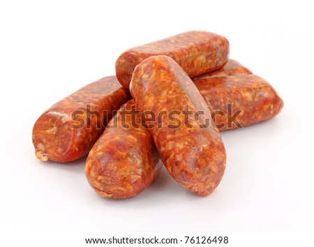 A group of freshly made hot Italian sausage links on a white background. - stock photo