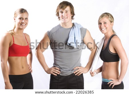 A group of friends after a workout - stock photo