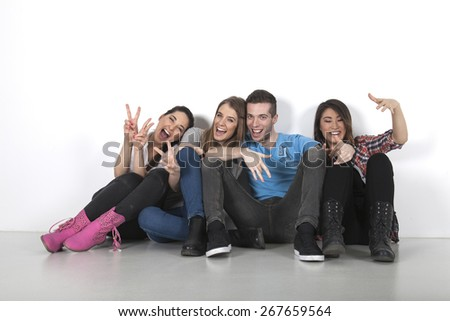 A group of friends posing together - stock photo