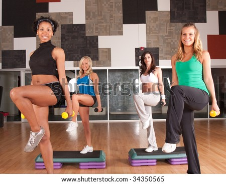 a group of friends works out - stock photo