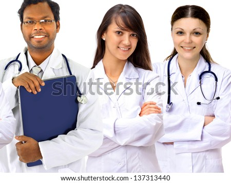 A group of good doctors. Isolated on a white background. - stock photo