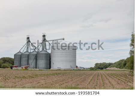 A group of granaries for storing wheat and other cereal grains.