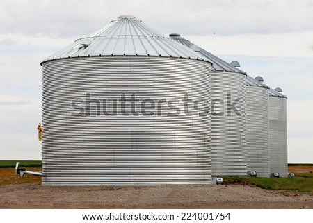 A group of granaries for storing wheat and other cereal grains.   - stock photo