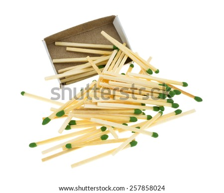 A group of green sulfur tipped matchsticks spilling from the cardboard box atop a white background. - stock photo