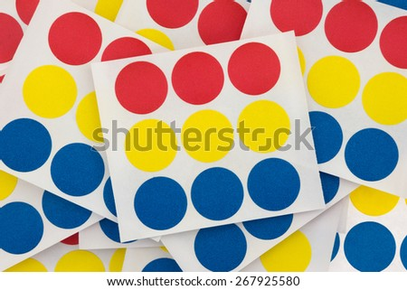 A group of handy colorful garage sale stickers on white backgrounds. - stock photo