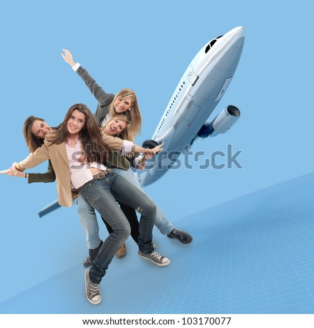 A group of happy girls celebrating an airplane travel