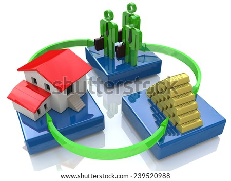 A group of investors, house, gold bars - the concept of investment  - stock photo