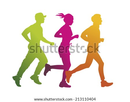 a group of jogger as colored silhouette