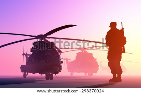 A group of military helicopters and the silhouette of a soldier. - stock photo
