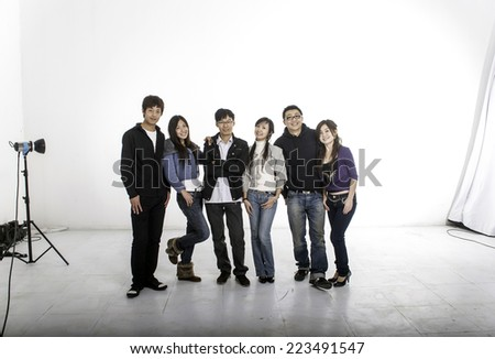 a group of models in photo studio