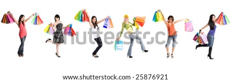A group of multi ethnic women carrying shopping bags