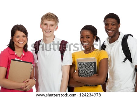 A group of multi-racial college students with backpacks and books on a white background - stock photo