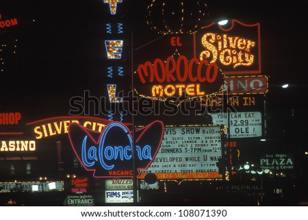 A group of neon signs as you enter Las Vegas