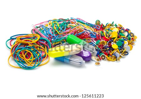 a group of Office tools on white background