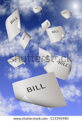 A group of paper bills falling from the sky / Bills and debt