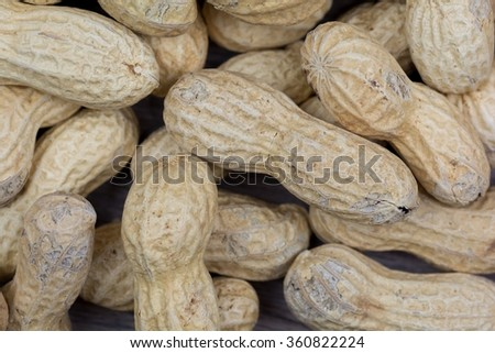 A group of peanuts on the table.