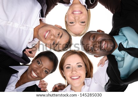 A group of people in a circle on white background. view from the bottom - stock photo