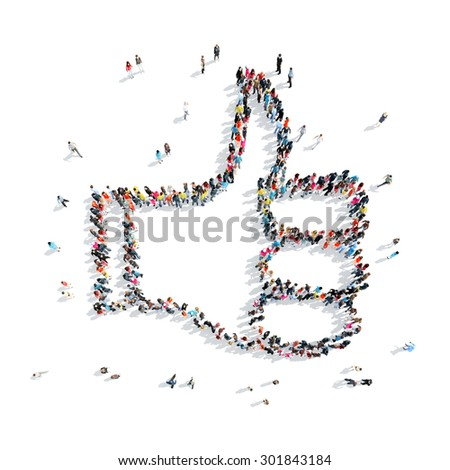 A group of people in the shape Like, flash mob. - stock photo