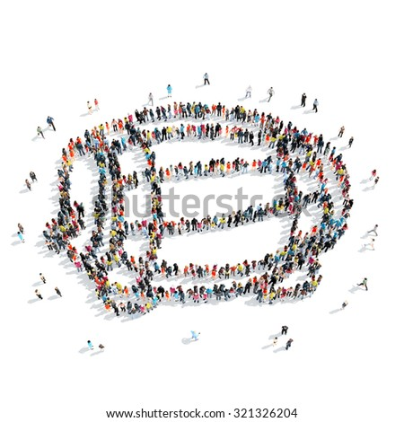 A group of people in the shape of a barrel of wine, cartoon, isolated, white background. - stock photo
