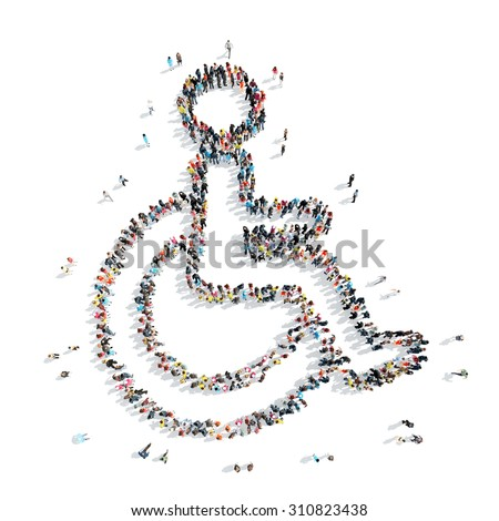 A group of people in the shape of a disability, medicine, cartoon isolated on a white background. - stock photo