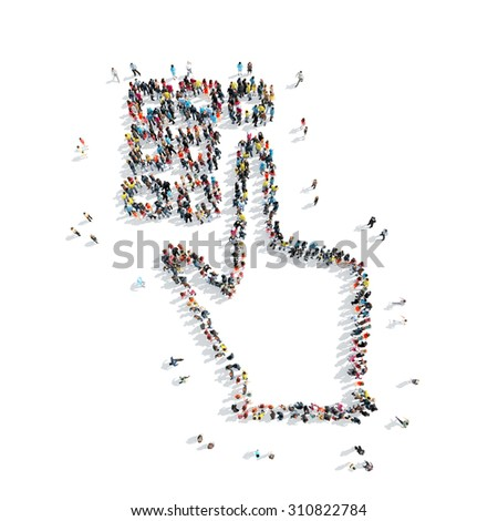 A group of people in the shape of a hand, a pin code, cartoon, isolated on a white background. - stock photo