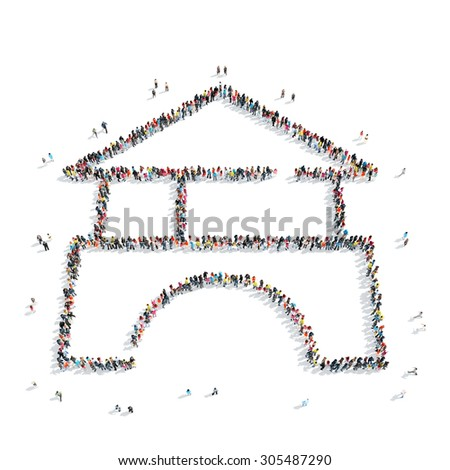 A group of people in the shape of a house, a flash mob. - stock photo