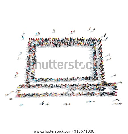 A group of people in the shape of a laptop cartoon isolated on a white background. - stock photo