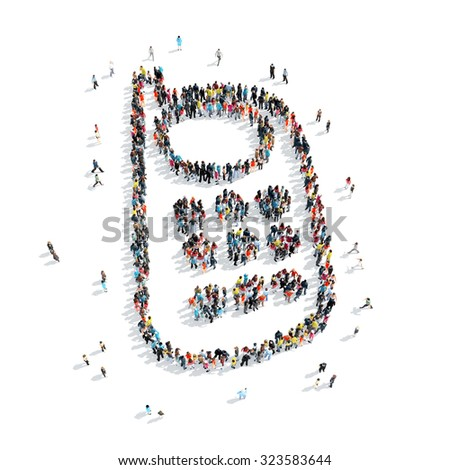 A group of people in the shape of a mobile phone, cartoon, isolated, white background. - stock photo