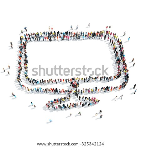 A group of people in the shape of a monitor, isolated, cartoon, white background. - stock photo