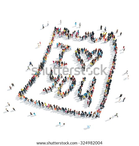 A group of people in the shape of a note, love, isolated, cartoon, white background. - stock photo