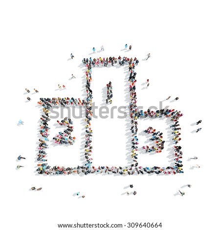 A group of people in the shape of a pedestal, sport, cartoon, isolated, white background. - stock photo