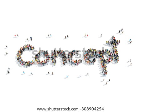 A group of people in the shape of concept, school, cartoon, isolated, white background. - stock photo