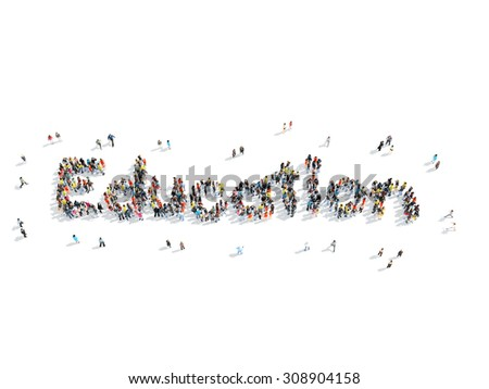 A group of people in the shape of education, school, cartoon, isolated, white background. - stock photo
