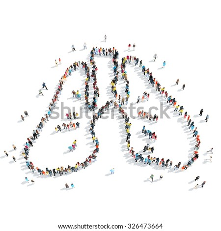A group of people in the shape of lungs, medicine, cartoon, isolated, white background. - stock photo