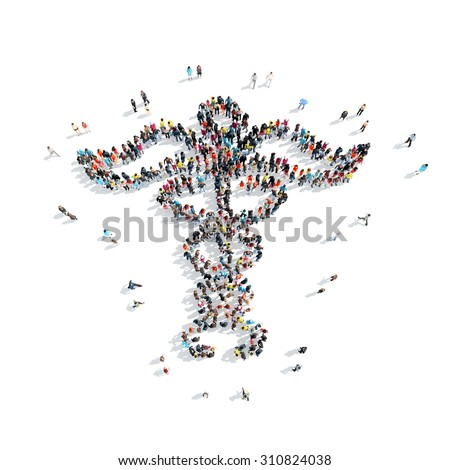 A group of people in the shape of medical symbol, isolated, white background. - stock photo