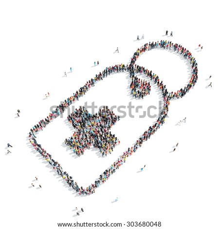 A group of people in the shape of tag, medicine, flash mob. - stock photo