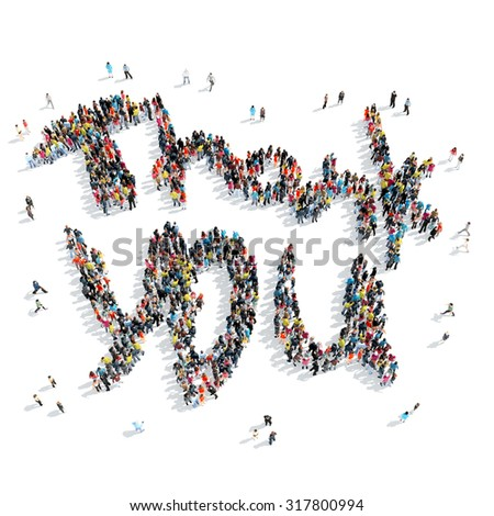 A group of people in the shape of thank you  , cartoon, isolated, white background. - stock photo